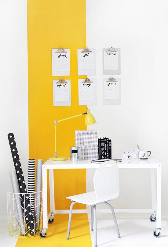 home office, parede amarela, faixa amarela na parede, escritório, home decor, decor, decoração