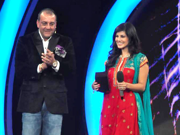 Leone with show host Sanjay Dutt after her eviction from the Bigg Boss house