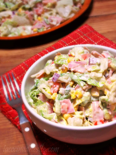Chopped Salad w/ Garlic Mexican Crema Dressing - lacocinadeleslie.com