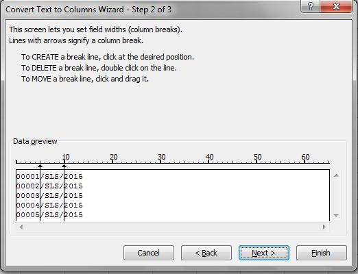 Salah satu opsi yang tersedia pada dikala memecah teks memakai tools text to columns di Fungsi Fixed Width Pada Text to Columns Excel