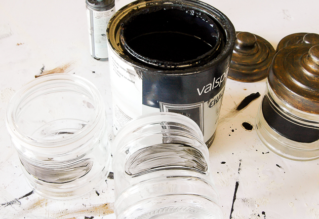 Adding chalk paint to dollar tree storage jars