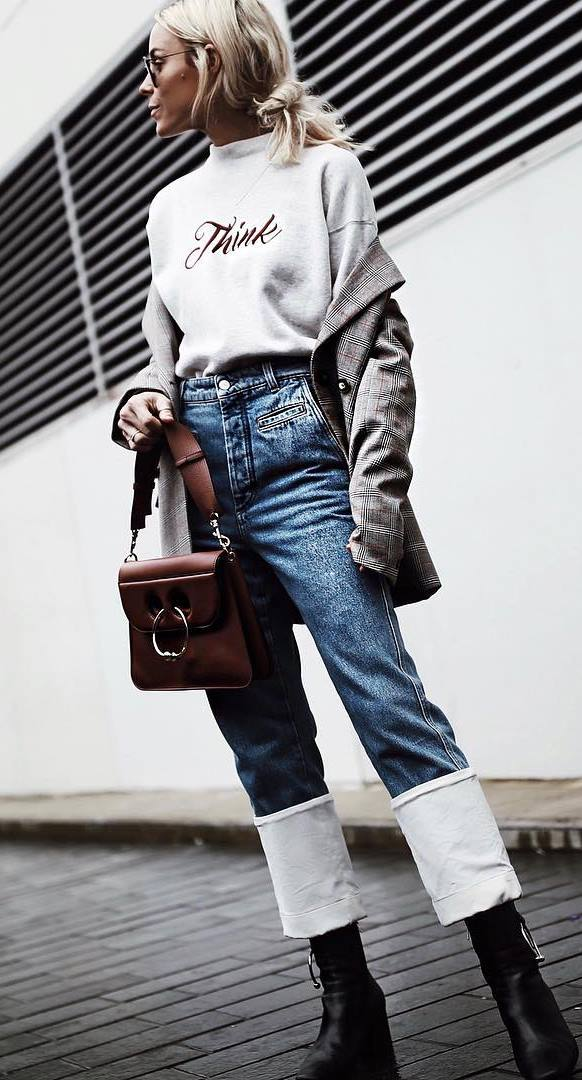 cute outfit idea | sweatshirt + plaid blazer + jeans + boots + bag