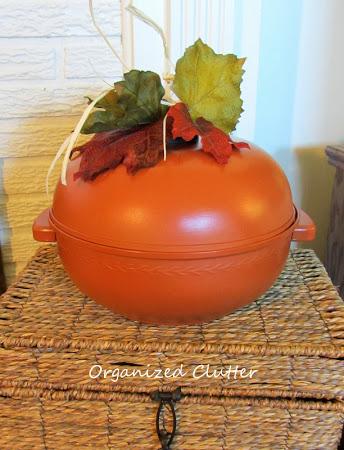 Repurposed Vintage Bun Warmer As A Pumpkin