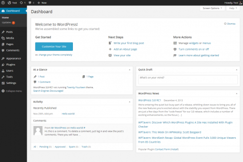 What is the WordPress dashboard?