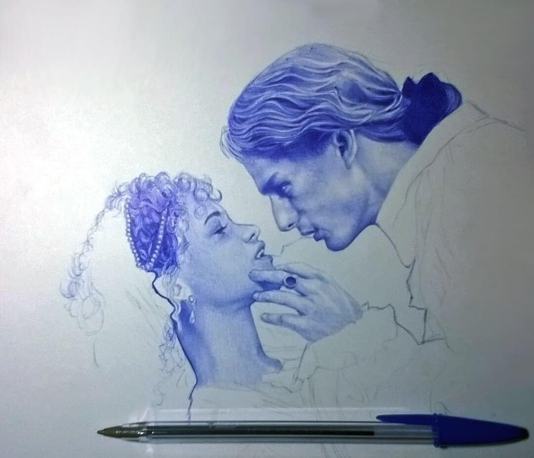 11-Interview-with-a-Vampire-Sonia-Davel-Indelible-Ballpoint-Pen-Portraits-www-designstack-co