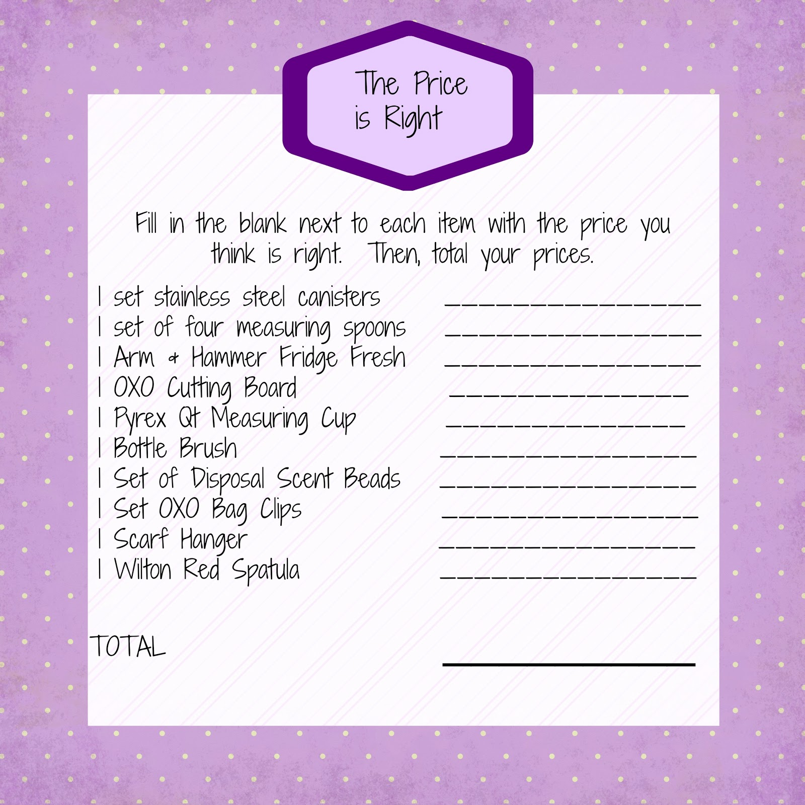 price is right bridal shower game template - 2 comments