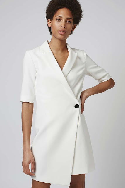 white blazer dress, white suit dress, topshop white lapel dress,