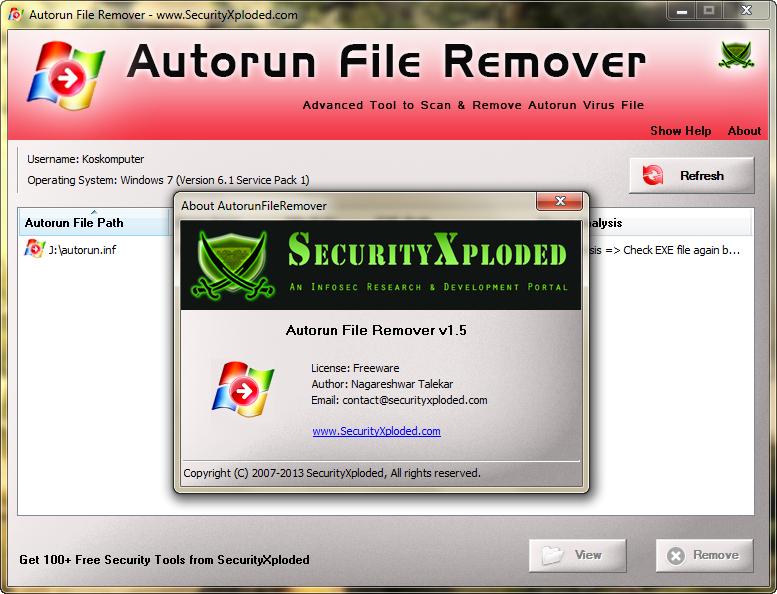 Autorun File Remover 1 5 + portable   Kloningsoft