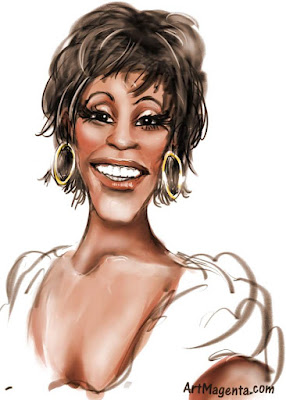 Whitney Houston caricature cartoon. Portrait drawing by caricaturist Artmagenta