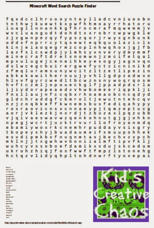 Minecraft Free Printables: Word Search Finder.