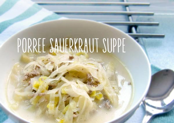 Teller mit Porree-Sauerkraut-Hack-Suppe