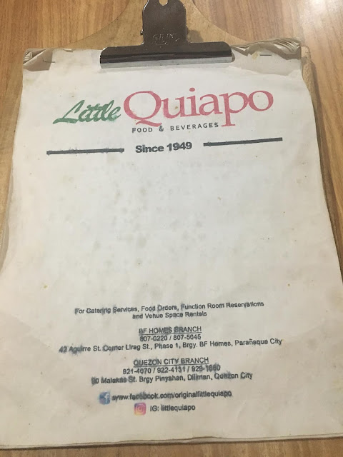 Little Quiapo Menu