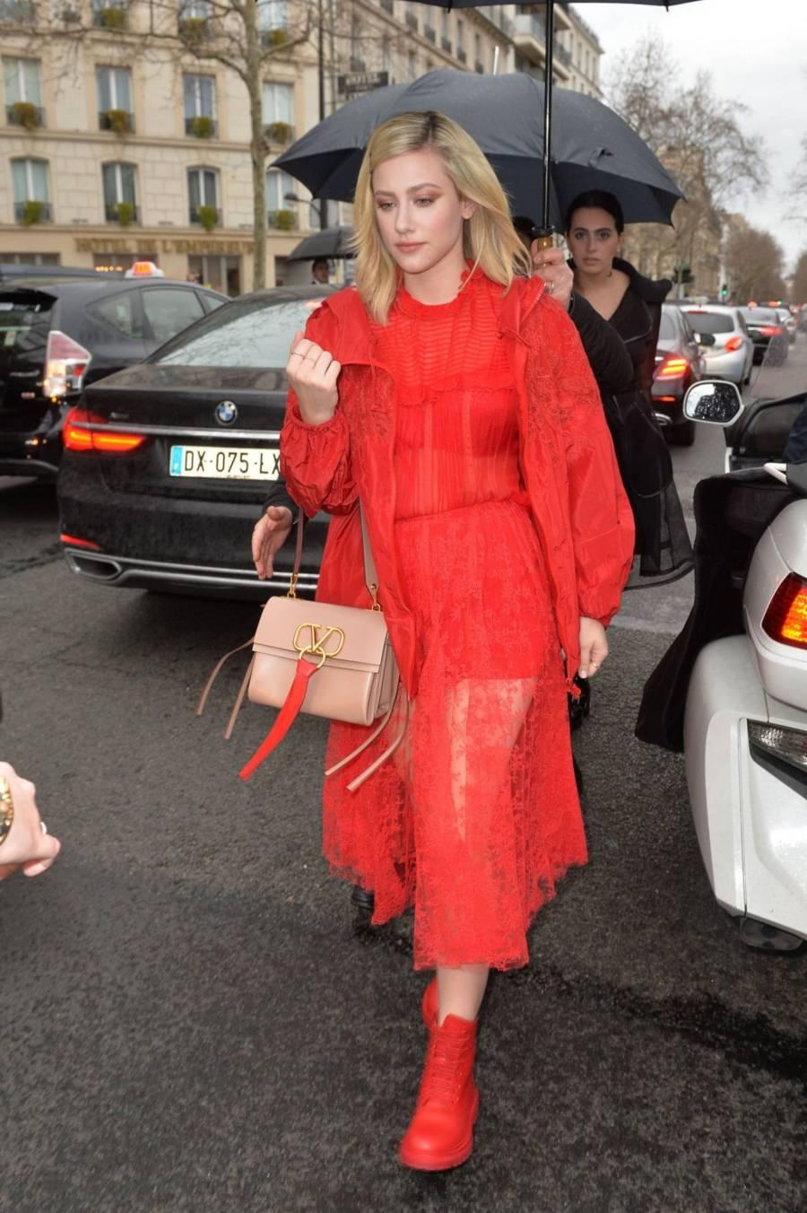 Lili Reinhart At Valentino Fashion Show in Paris