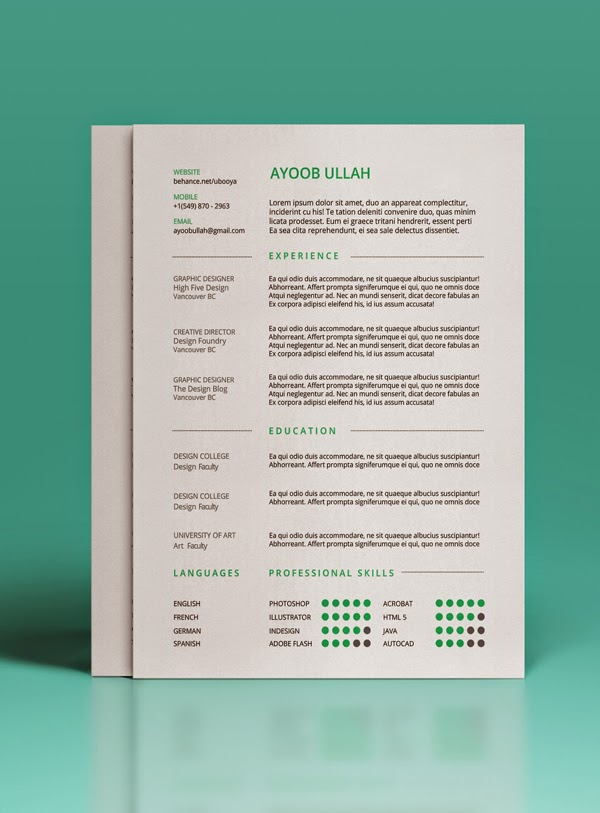 Simple Resume PSD Template