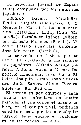 Match Internacional de Ajedrez España-Lisboa - Madrid 1962, recorte de Mundo Deportivo del 20 de mayo de 1962