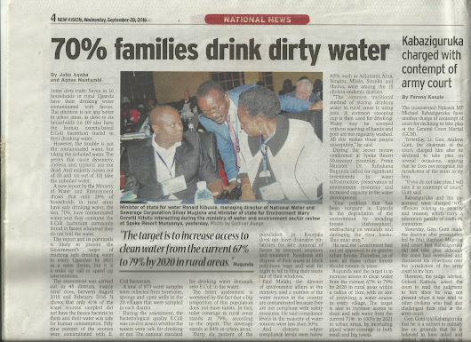 National report on clean water accessibility in uganda is finally been published ,