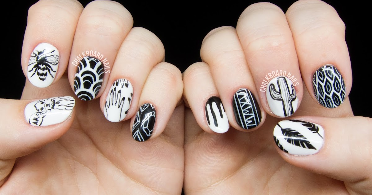Personalized black and white freehand nail art chalkboard nails personalized black and white freehand nail art chalkboard nails nail art blog prinsesfo Choice Image