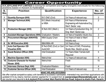 Jobs In Aa Joyland Pvt Limited Karachi 30 april 2017