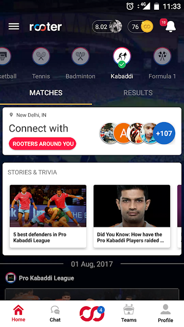 7 kinds of sports, all in one app: Rooter becomes the first platform to host a diverse range of sports after including Kabaddi and F1 in its mix of offerings