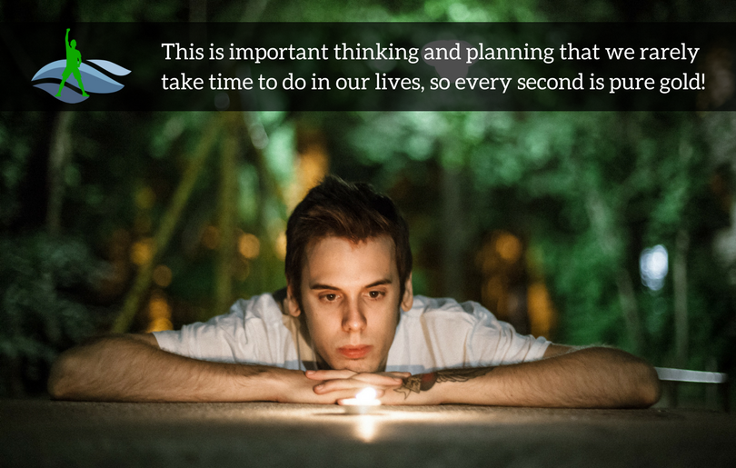 This is important thinking and planning that we rarely take time to do in our lives, so every second is pure gold!