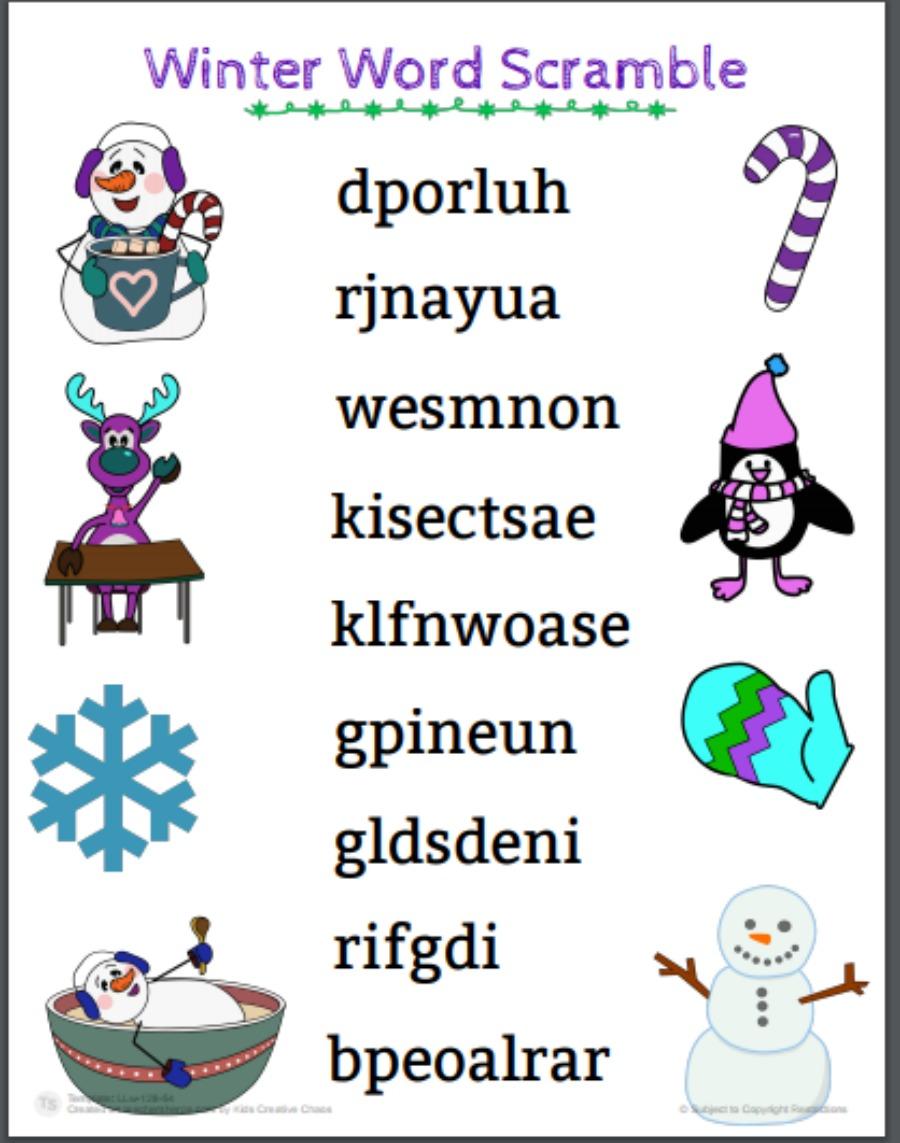winter word scramble printable free download