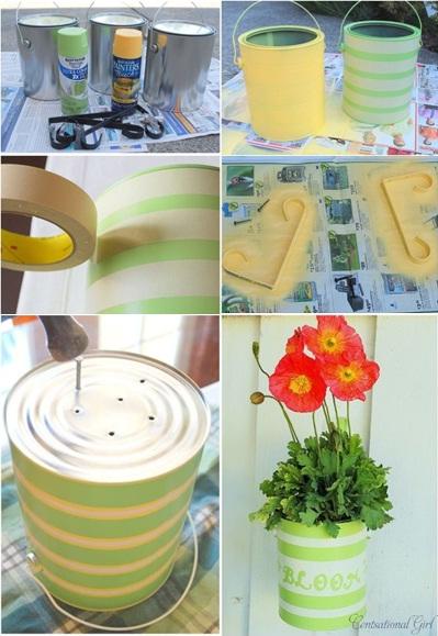 cara mengubah kaleng bekas jadi pot gantung/tempel yang menarik, untuk memajang bunga hias di teras rumah anda.