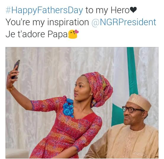 Selfie of Zahra with her Dad, President Buhari 444