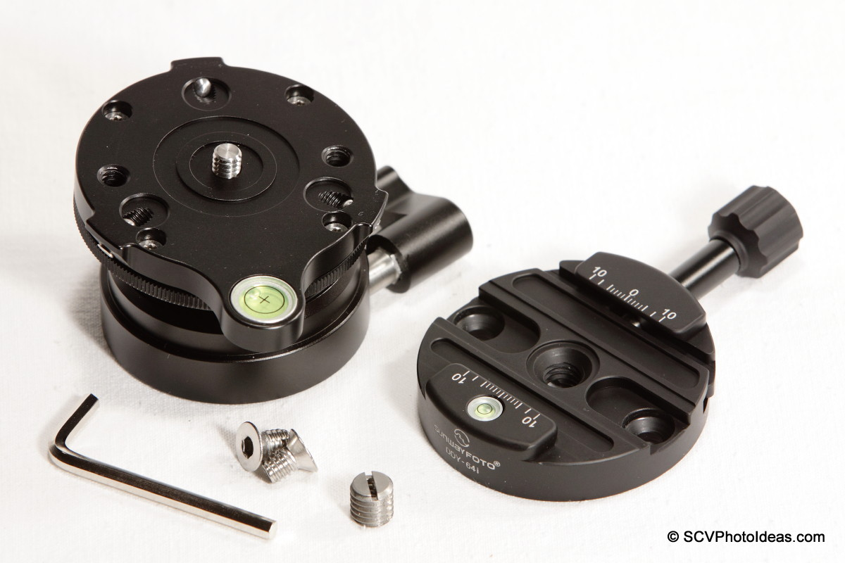 Sunwayfoto DDY-64iL Discal QR clamp w/ DYH-66i leveling base + screws + hex key