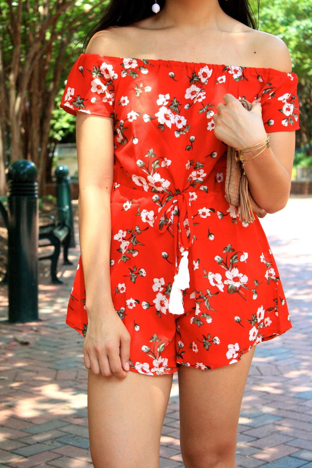 1378d7a89bdf When I saw this red floral printed romper I knew I just had to add it to my  collection!