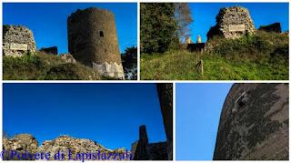 particolari della torre cilindrica e delle superstiti mura del castello