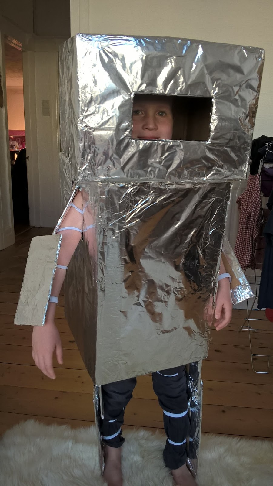 Ieuan in his robot costume