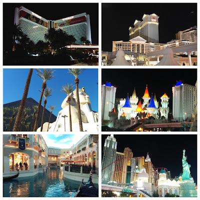 Mirage, Caesars Palace, Luxor, Excalibur, Venetian, New York, New York