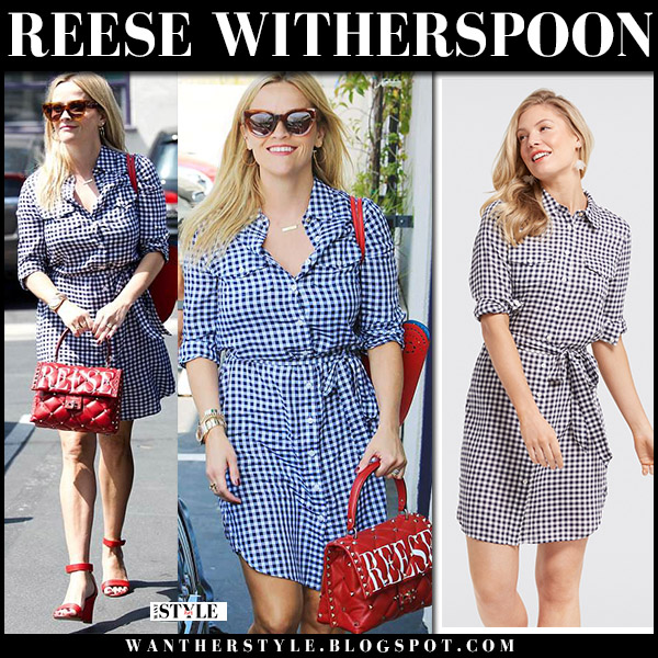 Reese Witherspoon in gingham navy shirtdress draper james street style may 9