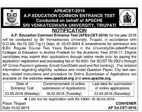 APEd.CET 2016 Notification