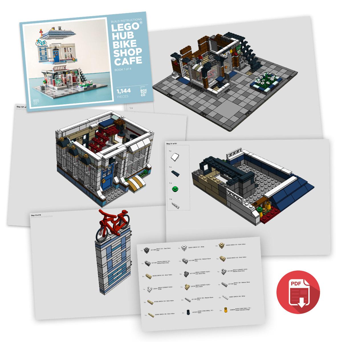 Lego Hub Bike Shop Cafe Moc Build Instructions Boxtoy