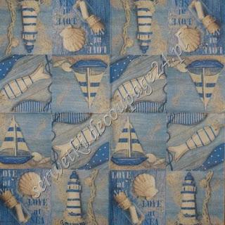 Serwetka - ryby statek latarnia morska muszelki