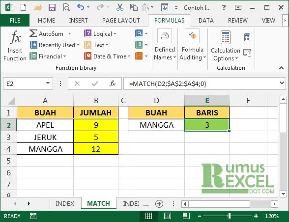 Contoh Fungsi Match Excel