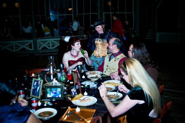 steampunk wedding, steampunk bride and groom, louise black corset, galveston, wedding, garten verein, steampunk wedding reception