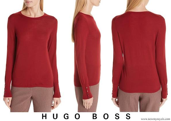 Queen Letizia wore HUGO BOSS Frankie Cuff Detail Wool Sweater