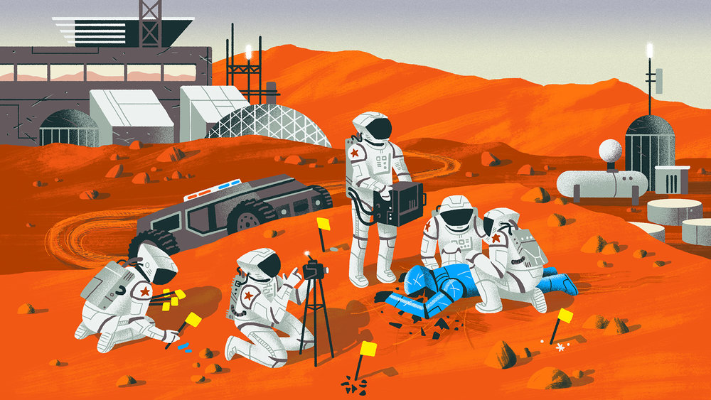 Mars Police field work illustration by Matt Chinworth