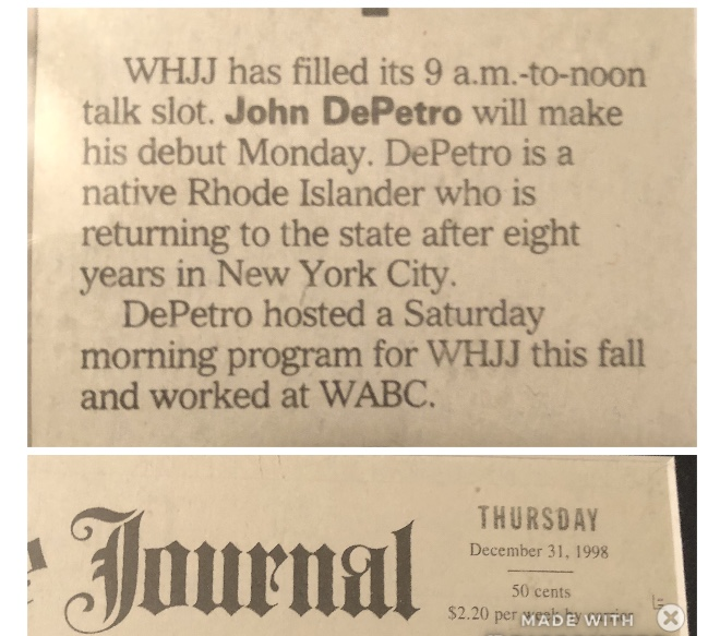 DePetro com: John DePetro celebrates 20 years of Talk Radio in Rhode