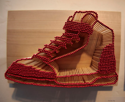 shoe made of matchsticks