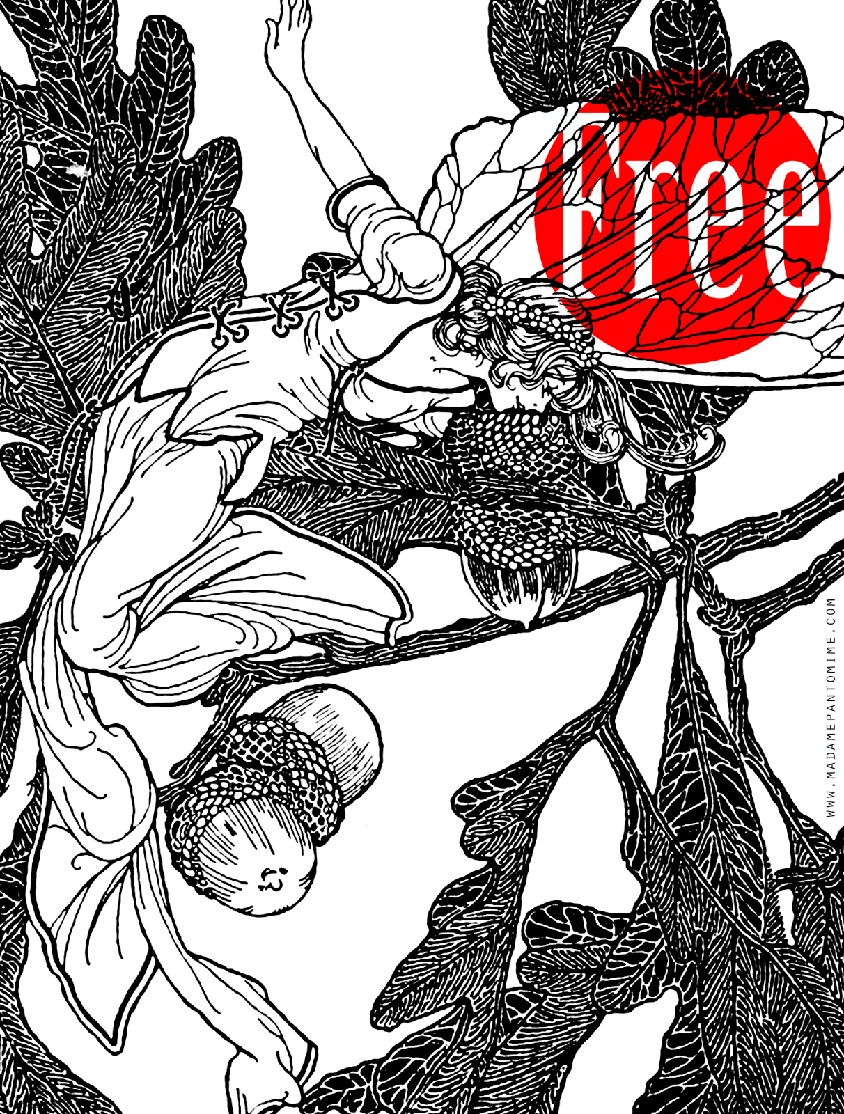 Free Printable Adult Coloring Page: Forest Fairy