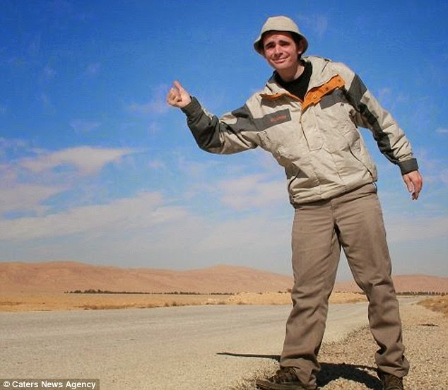 Pictured in the Syrian desert. He said his unusual method gave him the opportunity to see places that are sometimes difficult to get to. - A Big Thumbs Up. Traveller Hitchhikes 100,000 Miles Around The World Without Spending Any Money
