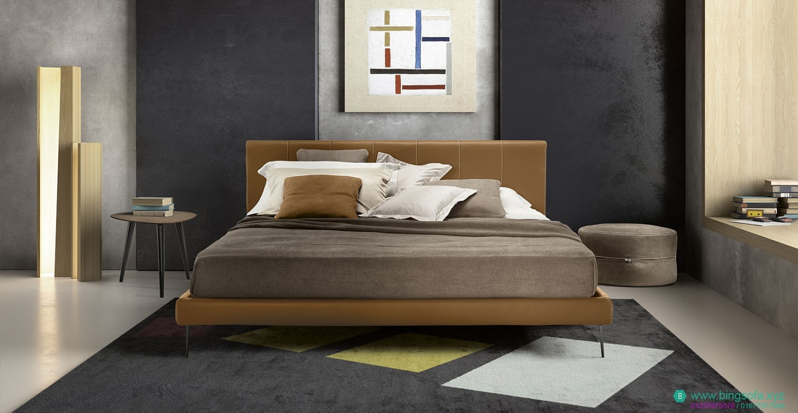 Mẫu giường ngủ bọc da thật GN24