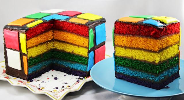 Tarta arco iris de nata y chocolate Thermomix