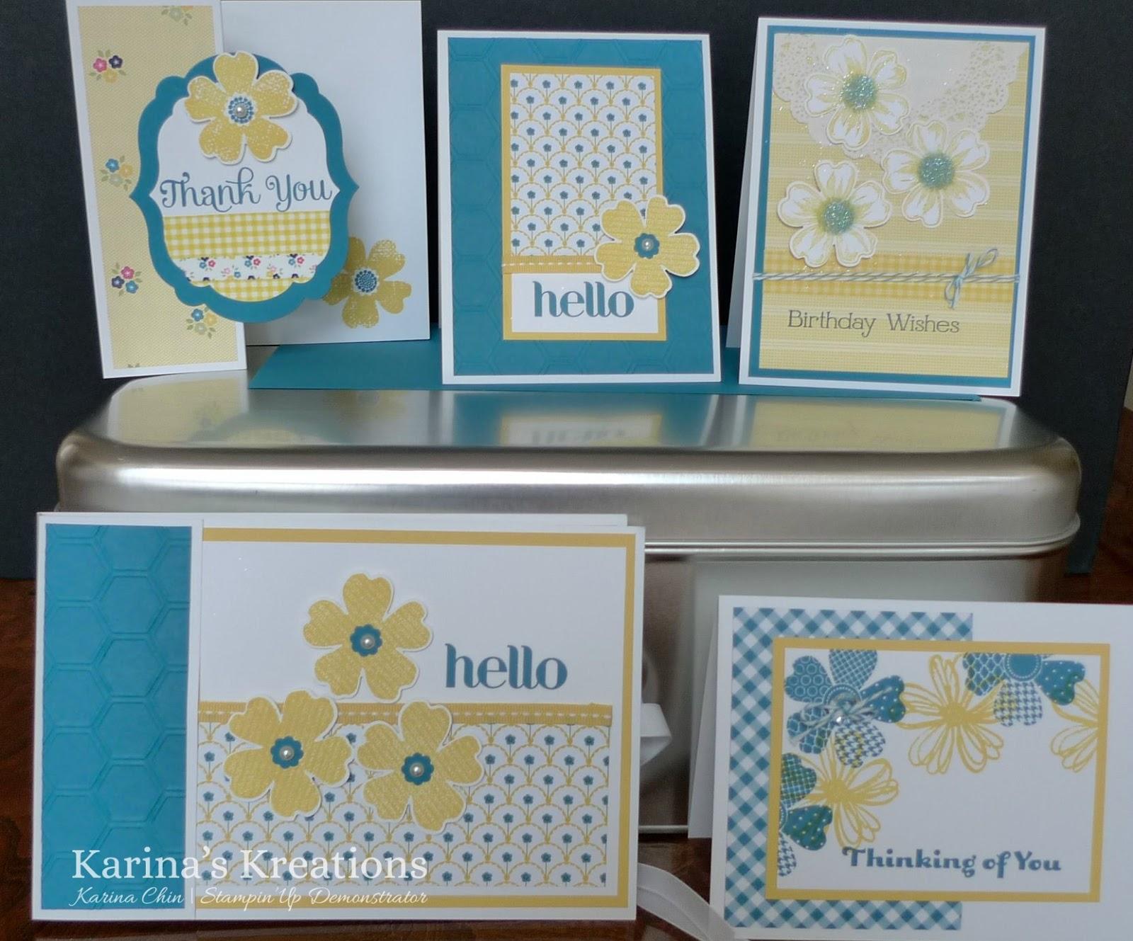 karina's kreations stampin'up flower shop bundle card class