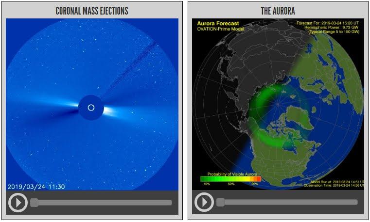 Rara tempesta solare con aurora boreale in aree insolite.