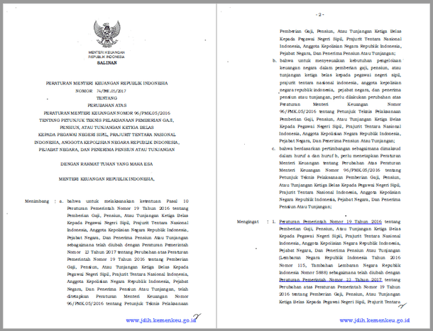 PMK Nomor 74/PMK.05/2017 Tentang Petunjuk Teknis Pemberian Gaji Ketiga Belas untuk PNS dan Pensiun