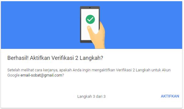 Aktifkan Verifikasi 2 langkah akun google